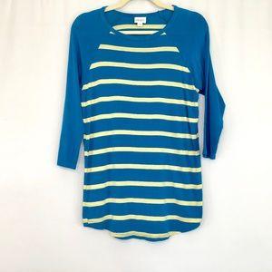 LulaRoe Blue & Light Yellow Stripe Top Women's XS